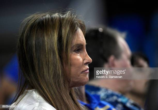 Caitlyn Jenner attends the UCLA Bruins and Cincinnati Bearcats college basketball game at Pauley Pavilion on December 16 2017 in Los Angeles...