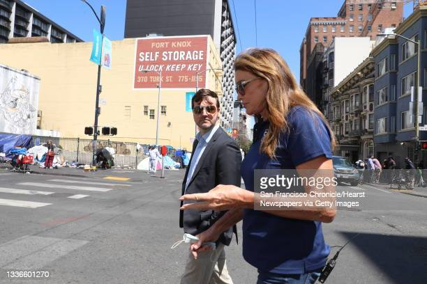 Caitlyn Jenner, center, converses with Jason Clark, former chairman of the San Francisco Republican Party and the former president of the San...