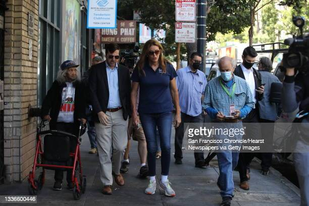 Caitlyn Jenner, center, converses with Jason Clark, second from left, former chairman of the San Francisco Republican Party and the former president...