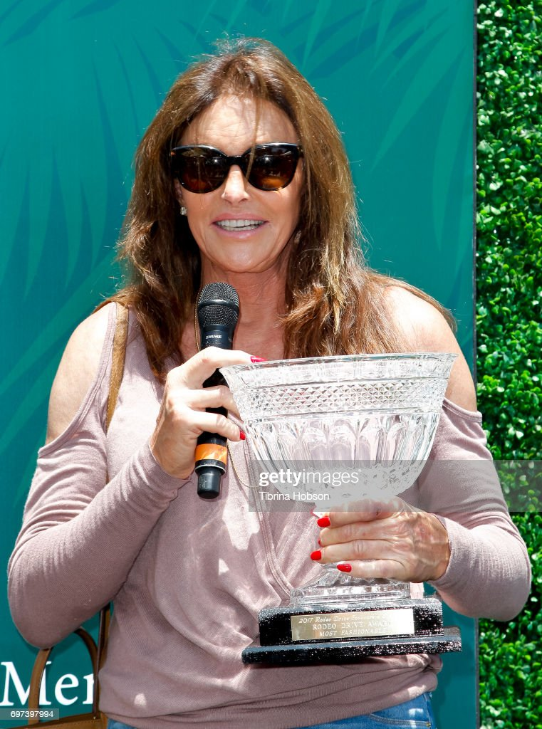 Caitlyn Jenner displays her Austin-Healey Sprite and wins an award for 'most fashionable' car at The Rodeo Drive Concours d'Elegance on June 18, 2017 in Beverly Hills, California.