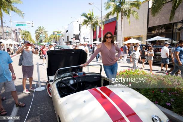 Caitlyn Jenner displays her Austin-Healey Sprite at the Rodeo Drive Concours d'Elegance on June 18, 2017 in Beverly Hills, California.