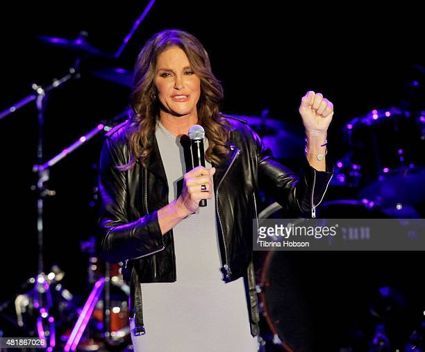 Caitlyn Jenner introduces Boy George and Culture Club at The Greek Theatre on July 24 2015 in Los Angeles California