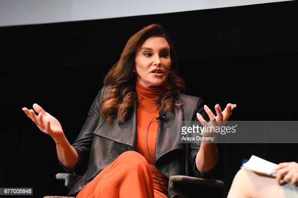 Caitlyn Jenner is in conversation at the Los Angeles Times Ideas Exchange at The Theater at Ace Hotel on May 2 2017 in Hollywood California