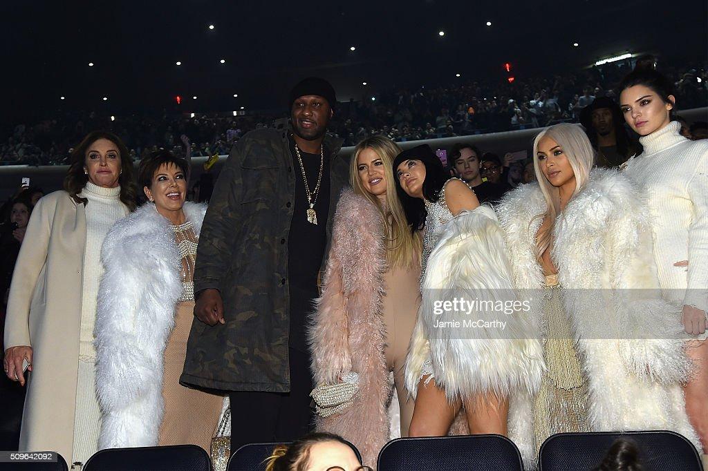 Caitlyn Jenner, Kris Jenner, Lamar Odom, Khloe Kardashian, Kylie Jenner, Kim Kardashian and Kendall Jenner attend Kanye West Yeezy Season 3 on February 11, 2016 in New York City.