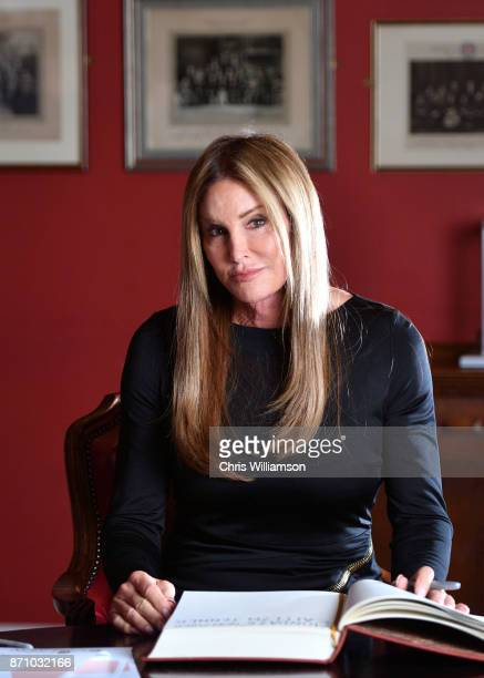 Caitlyn Jenner poses at The Cambridge Union on November 6 2017 in Cambridge Cambridgeshire