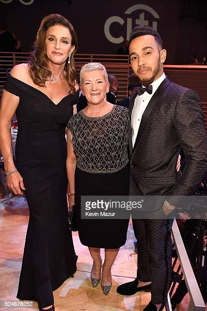 Caitlyn Jenner poses with Lewis Hamilton and his mother Carmen Larbalestier at the 2016 Time 100 Gala Time's Most Influential People In The World at...