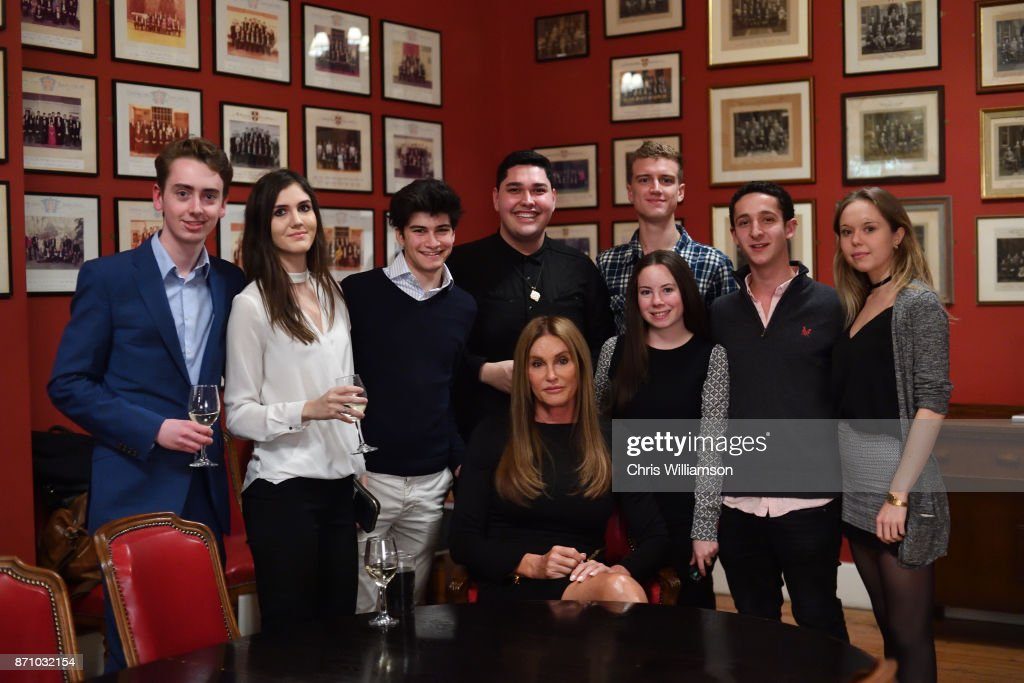 Caitlyn Jenner poses with students at The Cambridge Union on November 6, 2017 in Cambridge, Cambridgeshire.
