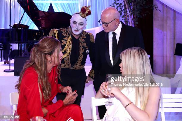 Caitlyn Jenner Principe Maurice Bill Roedy and Sophia Hutchins attend the LIFE Solidarity Gala prior to the Life Ball at City Hall on June 2 2018 in...