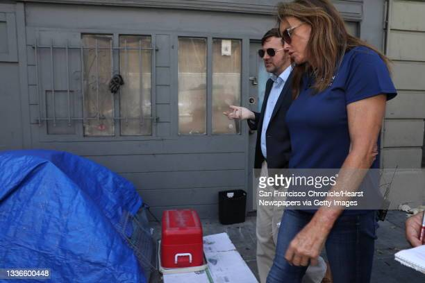 Caitlyn Jenner, right, converses with Jason Clark, former chairman of the San Francisco Republican Party and the former president of the San...