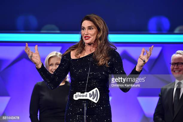 Caitlyn Jenner speaks onstage during the 27th Annual GLAAD Media Awards at Waldorf Astoria Hotel in New York on May 14 2016 in New York City