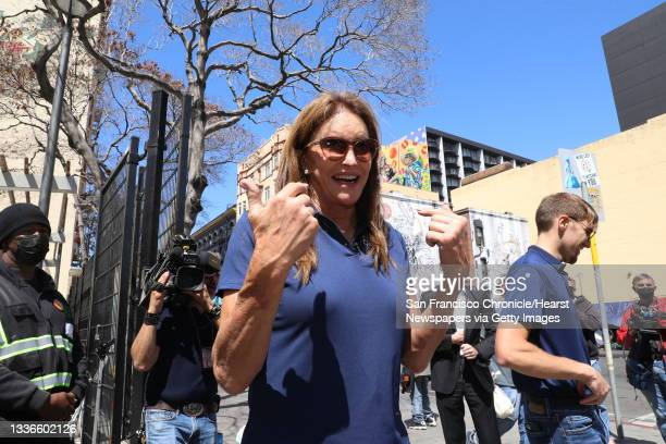 Caitlyn Jenner speaks to the media outside the Turk-Hyde Mini Park during a tour the Tenderloin on Wednesday, August 25 in San Francisco, Calif....