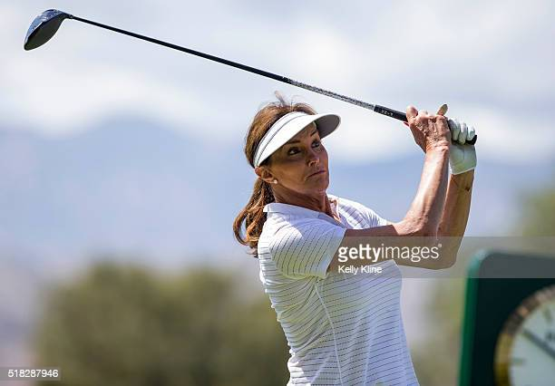 Caitlyn Jenner tees off of the 18th hole during the LPGA's ANA Inspiration ProAm at Mission Hills Country Club on March 30 2016 in Rancho Mirage...