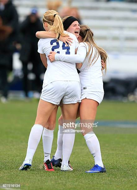 Caitlyn Jobanek center of Western Washington University celebrates a gaol with teammates during the Division II Women's Soccer Championship against...