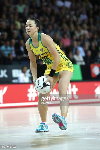 Caitlyn Nevins of Australia in action during the 2017 Constellation Cup match between the New Zealand Silver Ferns and the Australia Diamonds at...