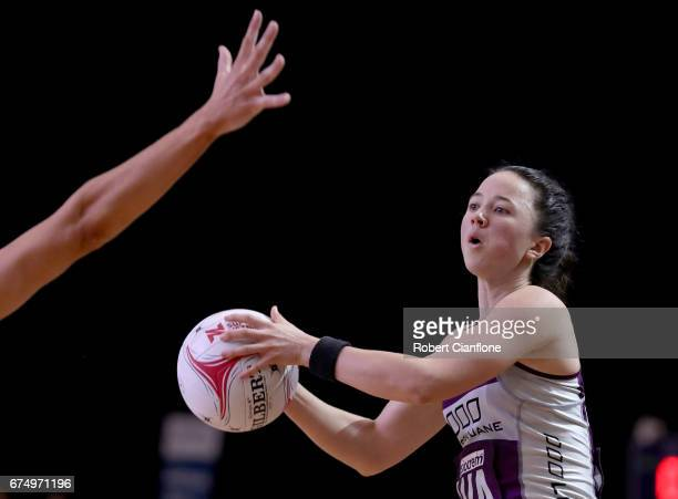 Caitlyn Nevins of the Firebirds looks to pass during the round 10 Super Netball match between the Magpies and the Firebirds at the Silverdome on...