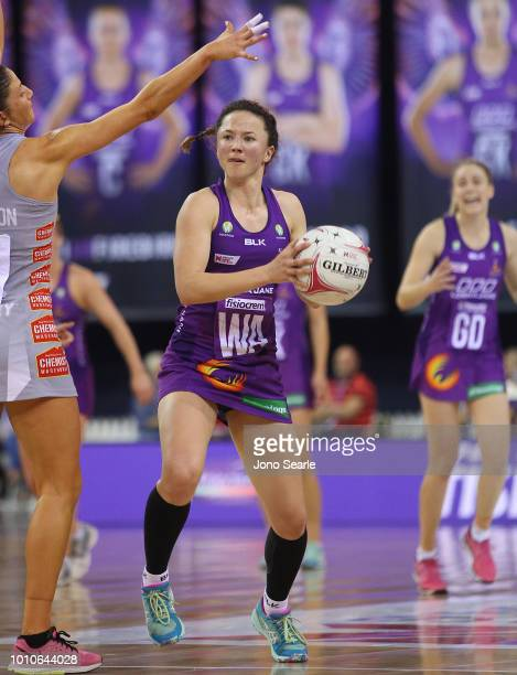 Caitlyn Nevins of the Firebirds looks to pass during the round 14 Super Netball match between the Firebirds and the Magpies at the Brisbane...