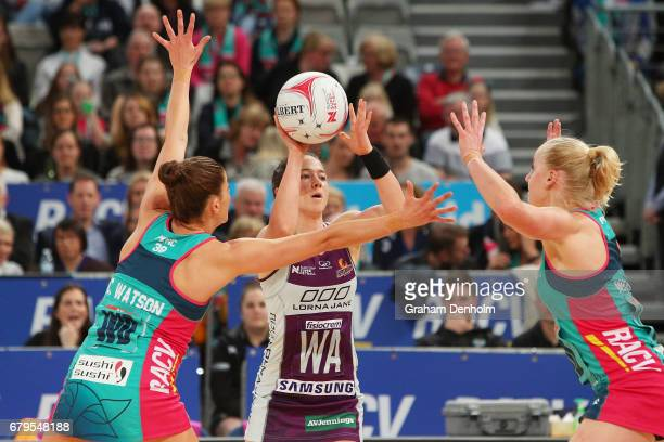 Caitlyn Nevins of the Firebirds passes during the round 11 Super Netball match between the Vixens and the Firebirds at Hisense Arena on May 6 2017 in...