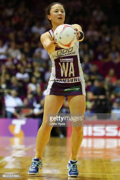 Caitlyn Nevins of the Firebirds passes during the round four Super Netball match between the Firebirds and the Swifts at Brisbane Convention...