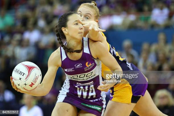 Caitlyn Nevins of the Firebirds passes during the round one of the Super Netball match between the Firebirds and Lightning at Brisbane Entertainment...