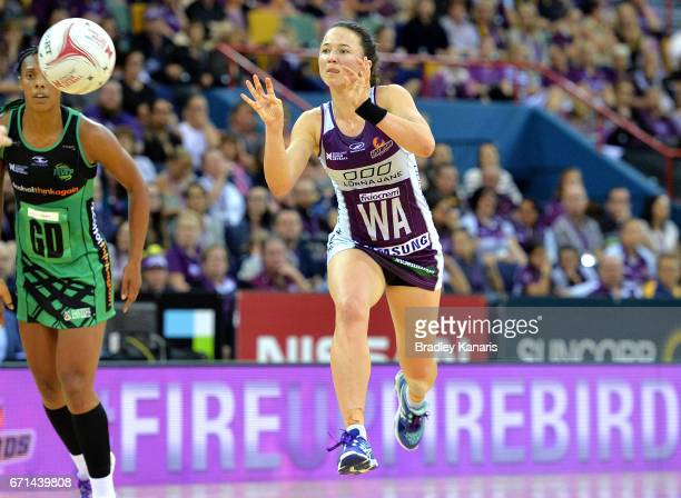 Caitlyn Nevins of the Firebirds passes the ball during the round nine Super Netball match between the Firebirds and the Fever at Brisbane...
