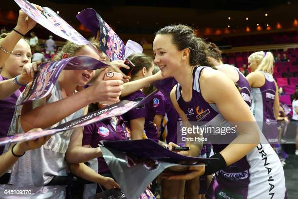 Caitlyn Nevins of the Firebirds poses for photos after the round two Super Netball match between the Queensland Firebirds and the Collingwood Magpies...