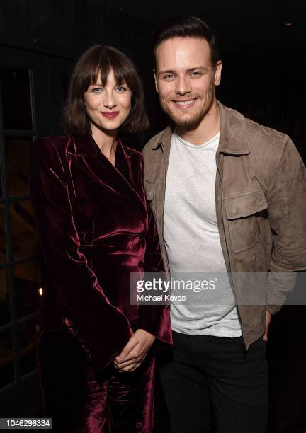 Caitriona Balfe and Sam Heughan attend the Starz NYCC 2018 Talent Dinner at Black Barn on October 5, 2018 in New York City.