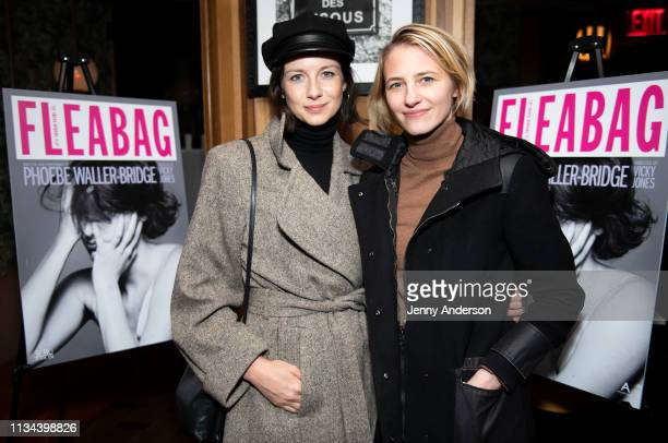 Caitriona Balfe and Sara Ziff attend 'Fleabag' opening night party at Bistrot Leo on March 7 2019 in New York City