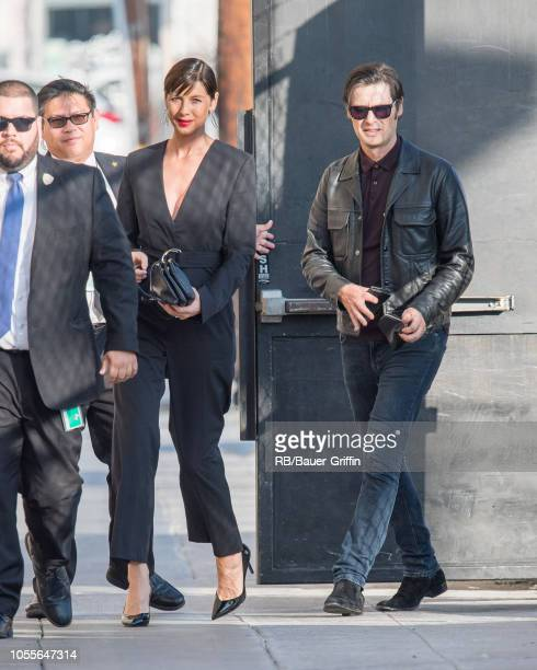 Caitriona Balfe and Tony McGill are seen at 'Jimmy Kimmel Live' on October 30 2018 in Los Angeles California