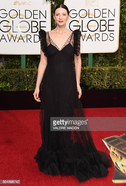 Caitriona Balfe arrives at the 73nd annual Golden Globe Awards January 10 at the Beverly Hilton Hotel in Beverly Hills California AFP PHOTO / VALERIE...