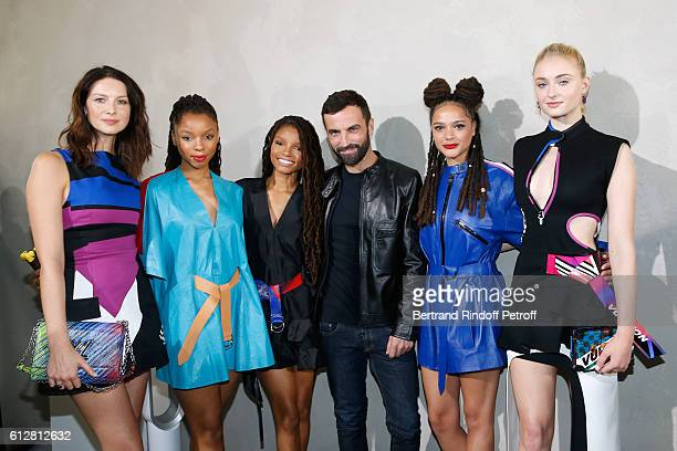 Caitriona Balfe Chloe Bailey Halle Bailey Stylist Nicolas Ghesquiere Sasha Lane and Sophie Turner pose after the Louis Vuitton show as part of the...