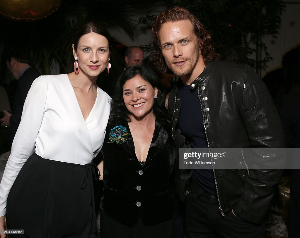 Caitriona Balfe, Diana Gabaldon and Sam Heughan attend the Starz Pre-Golden Globe Celebration at Chateau Marmont on January 8, 2016 in Los Angeles, California.