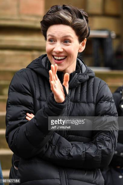 Caitriona Balfe from the TV series Outlander meets fans who were waiting in St Andrew's Square on March 14 2018 in GlasgowScotland Dozens of fans...