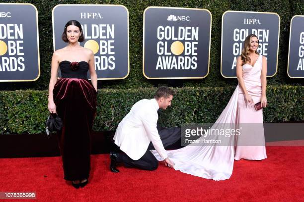 Caitriona Balfe Justin Hartley and Chrishell Stause attend the 76th Annual Golden Globe Awards at The Beverly Hilton Hotel on January 6 2019 in...