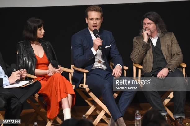 Caitriona Balfe Sam Heughan and Ronald D Moore speak on stage at the STARZ Outlander FYC Event at Linwood Dunn Theater on March 18 2018 in Los...