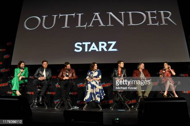 Caitriona Balfe, Sam Heughan, Duncan Lacroix, Maria Doyle Kennedy, David Berry, Ron Moore Maril Davis and Diana Gabaldon speak onstage during a panel...