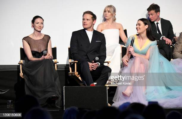 "Caitriona Balfe, Sam Heughan, Lauren Lyle, Sophie Skelton and Ed Speleers speak onstage during the Starz Premiere event for ""Outlander"" Season 5 at..."