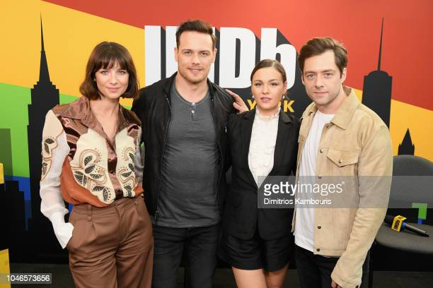 Caitriona Balfe Sam Heughan Sophie Skelton and Richard Rankin of 'Outlander' attend IMDb at New York Comic Con Day 2 at Javits Center on October 6...