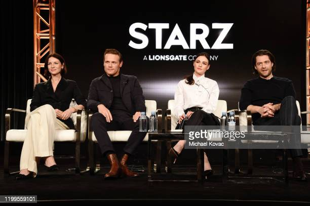 Caitriona Balfe, Sam Heughan, Sophie Skelton and Richard Rankin of 'Outlander' speaks onstage during STARZ TCA Winter 2020 on January 14, 2020 in...
