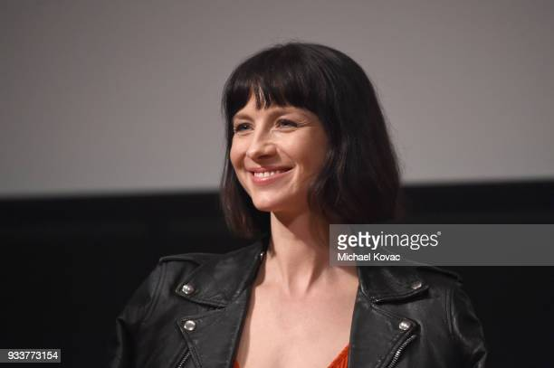 Caitriona Balfe speaks on stage at the STARZ Outlander FYC Event at Linwood Dunn Theater on March 18 2018 in Los Angeles California