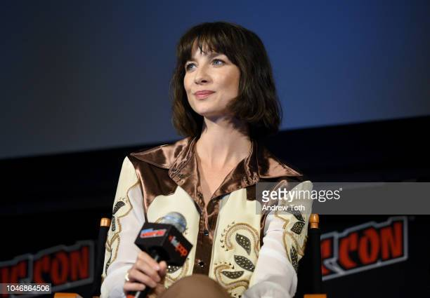 Caitriona Balfe speaks onstage during the Outlander panel during New York Comic Con at Jacob Javits Center on October 6, 2018 in New York City.