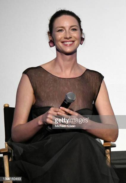 """Caitriona Balfe speaks onstage during the Starz Premiere event for """"Outlander"""" Season 5 at Hollywood Palladium on February 13, 2020 in Los Angeles,..."""
