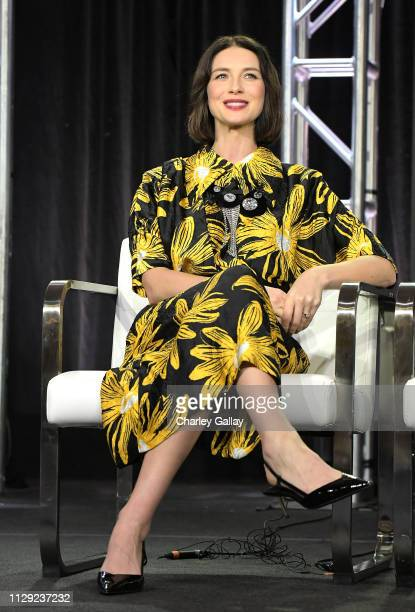 Caitriona Balfe speaks onstage for Starz 'Fiercely Female Panel' onstage during the Starz 2019 Winter TCA Panel AllStar After Party on February 12...