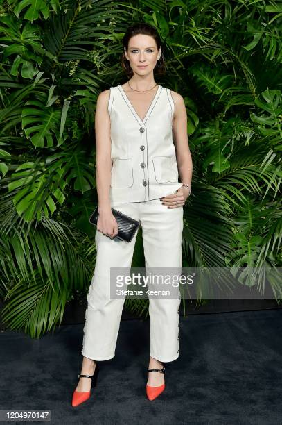 Caitriona Balfe, wearing CHANEL, attends CHANEL and Charles Finch Pre-Oscar Awards Dinner at Polo Lounge at The Beverly Hills Hotel on February 08,...