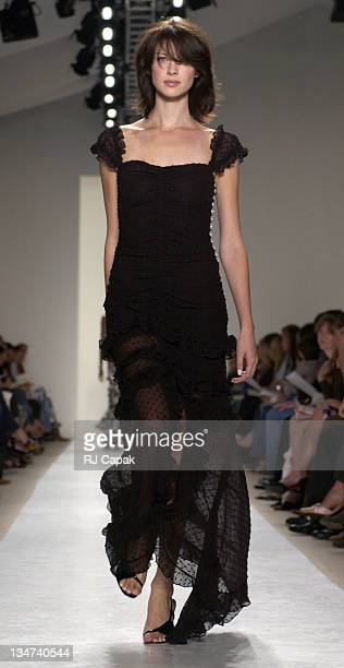 Caitriona Balfe wearing Tuleh Spring 2004 during MercedesBenz Fashion Week Spring 2004 Tuleh at Bryant Park in New York City NY United States