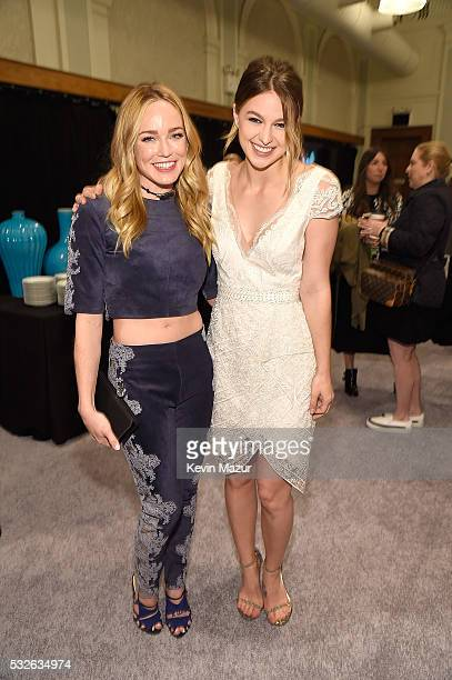 Caity Lotz and Melissa Benoist backstage before The CW Network's 2016 Upfront at New York City Center on May 19 2016 in New York City
