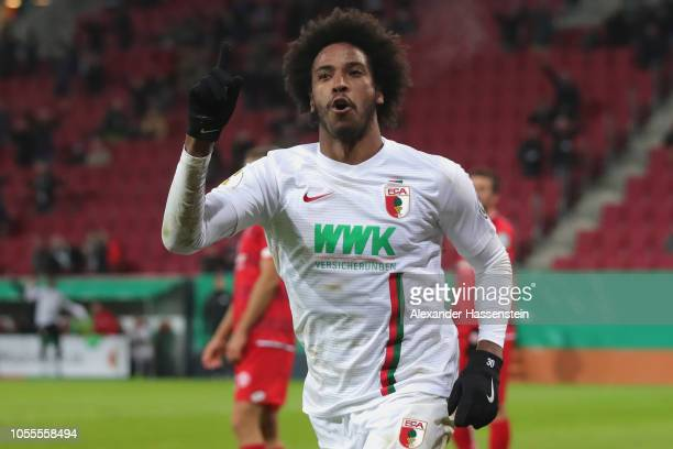 Caiuby Francisco da Silva of Augsburg celebrates scoring the winning goal during the DFB Cup match between FC Augsburg and 1 FSV Mainz 05 at WWKArena...