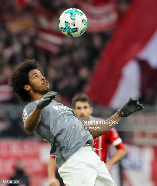 Caiuby Francisco da Silva of Augsburg controls the ball during the Bundesliga match between FC Bayern Muenchen and FC Augsburg at Allianz Arena on...