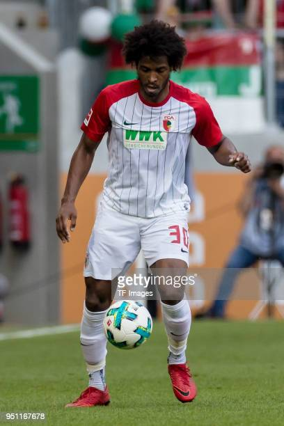 Caiuby Francisco da Silva of Augsburg controls the ball during the Bundesliga match between FC Augsburg and 1 FSV Mainz 05 at WWKArena on April 22...