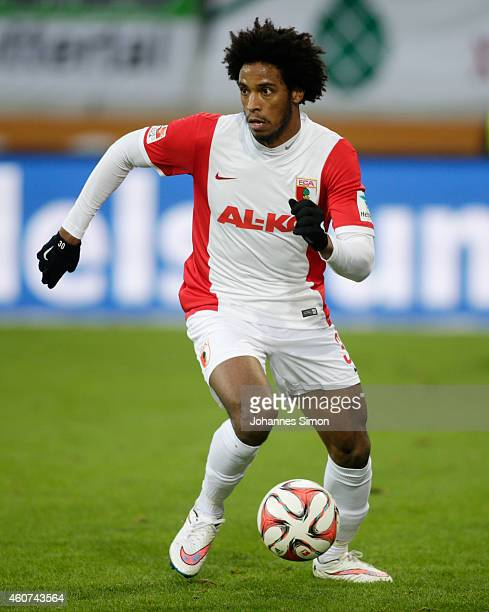 Caiuby Francisco da Silva of Augsburg in action during the Bundesliga match between FC Augsburg and Borussia Moenchengladbach at SGL Arena on...