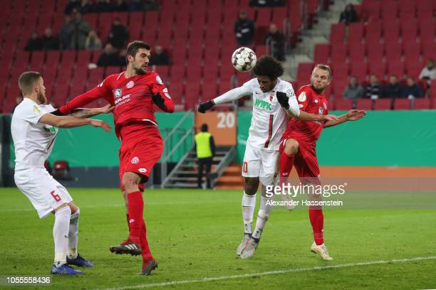 Caiuby Francisco da Silva of Augsburg scores the winning goal during the DFB Cup match between FC Augsburg and 1 FSV Mainz 05 at WWKArena on October...